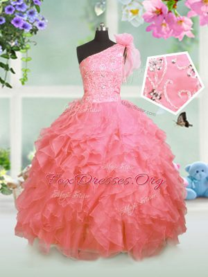Elegant One Shoulder Watermelon Red Sleeveless Floor Length Beading and Ruffles Lace Up Party Dress for Girls