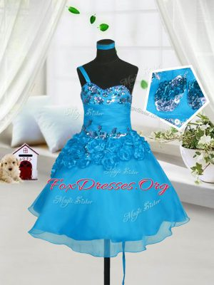 Baby Blue Lace Up Sweetheart Beading and Hand Made Flower Kids Formal Wear Organza Sleeveless