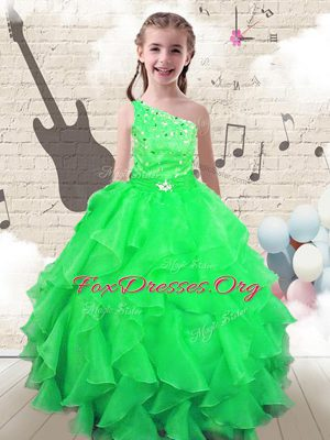 Low Price One Shoulder Apple Green Sleeveless Organza Lace Up Custom Made for Party and Wedding Party