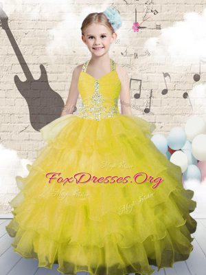 Admirable Halter Top Ruffled Floor Length Ball Gowns Sleeveless Yellow Green Womens Party Dresses Lace Up