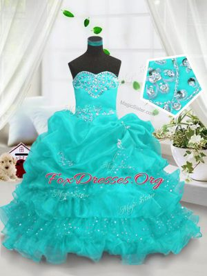 Organza Sleeveless Floor Length Juniors Party Dress and Beading and Ruffled Layers and Pick Ups