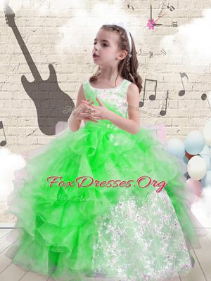 Affordable Lace Up Womens Party Dresses Beading and Ruffles Sleeveless Floor Length