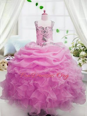 Elegant Pink Zipper Square Beading and Ruffles and Pick Ups Party Dress for Toddlers Organza Sleeveless