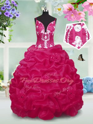 Exceptional Red Taffeta Lace Up V-neck Sleeveless Floor Length Teens Party Dress Beading and Pick Ups