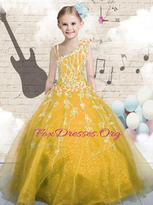 Pretty Orange Sleeveless Floor Length Appliques Lace Up Party Dress