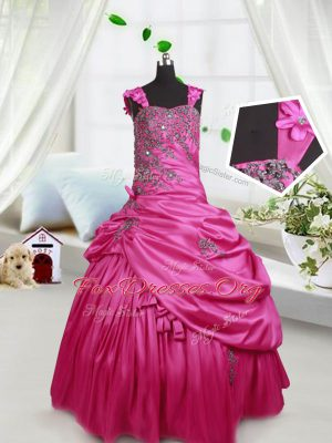 Admirable Hot Pink Ball Gowns Beading and Pick Ups Party Dresses Lace Up Satin Sleeveless Floor Length