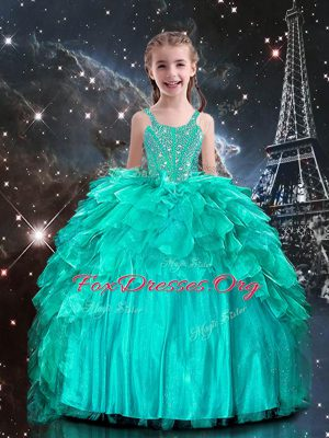 Aqua Blue Ball Gowns Beading and Ruffles Party Dresses Lace Up Organza Sleeveless Floor Length