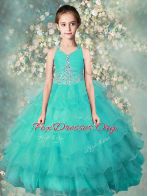 Halter Top Floor Length Turquoise Casual Dresses Organza Sleeveless Beading and Ruffled Layers
