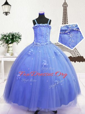 Super Blue Sleeveless Beading and Hand Made Flower Floor Length Kids Formal Wear