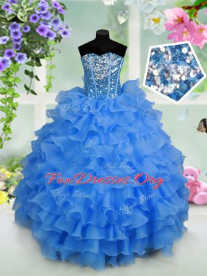 Comfortable Floor Length Lace Up Teens Party Dress Light Blue for Party with Ruffled Layers and Sequins