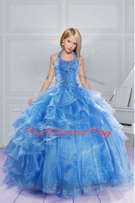 Baby Blue Ball Gowns Organza Halter Top Sleeveless Beading and Ruffles Floor Length Lace Up Party Dress for Girls