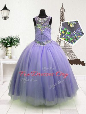 Affordable Ball Gowns Custom Made Lavender High-neck Organza Sleeveless Floor Length Zipper