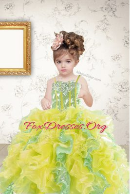 Hot Sale Multi-color Organza Lace Up Party Dress for Toddlers Sleeveless Floor Length Beading and Ruffles and Sequins