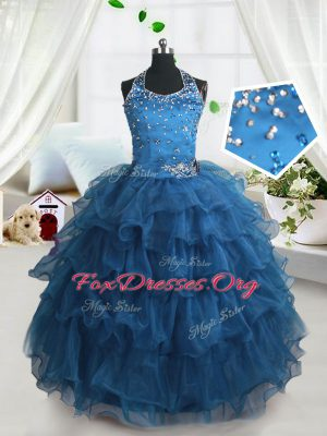 Delicate Spaghetti Straps Sleeveless Casual Dresses Floor Length Beading and Ruffled Layers Teal Organza