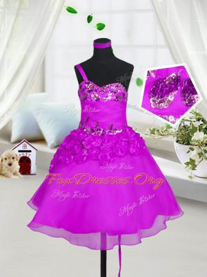 Organza Sweetheart Sleeveless Lace Up Beading and Hand Made Flower Party Dresses in Fuchsia