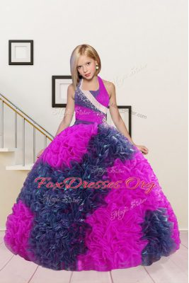 Hot Pink Party Dress Wholesale Party and Wedding Party and For with Beading and Ruffles Halter Top Sleeveless Lace Up