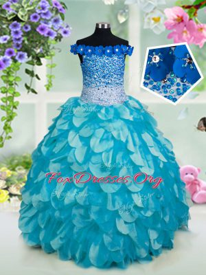 Off the Shoulder Beading and Sashes ribbons and Sequins Juniors Party Dress Turquoise Lace Up Sleeveless Floor Length