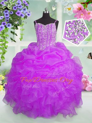 Smart Beading and Ruffles and Pick Ups Party Dress Fuchsia Lace Up Sleeveless Floor Length