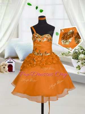 Orange Red A-line Sweetheart Sleeveless Organza Mini Length Lace Up Beading and Hand Made Flower Kids Formal Wear