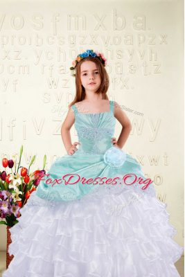 Aqua Blue Straps Lace Up Beading and Ruffled Layers and Hand Made Flower Kids Formal Wear Sleeveless