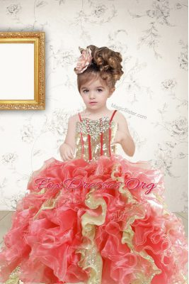 Unique Sleeveless Beading and Ruffles and Sequins Lace Up Teens Party Dress