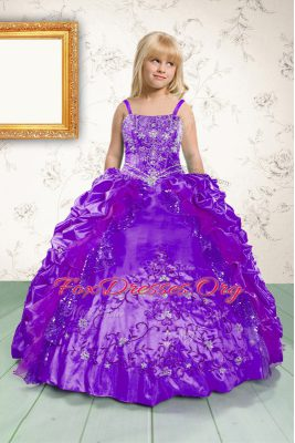 Purple Satin Lace Up Spaghetti Straps Sleeveless Floor Length Kids Formal Wear Beading and Appliques and Pick Ups