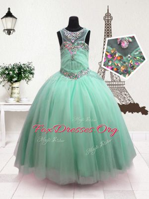 Turquoise Organza Zipper Scoop Sleeveless Floor Length Teens Party Dress Beading