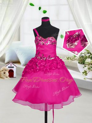 Fuchsia Sleeveless Beading and Hand Made Flower Knee Length Party Dresses