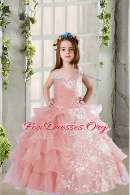 Affordable Baby Pink Square Neckline Lace and Ruffled Layers Party Dress for Girls Sleeveless Lace Up