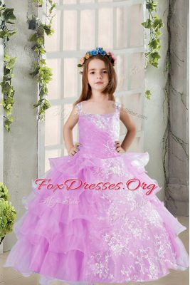 Glittering Lavender Ball Gowns Square Sleeveless Organza Floor Length Lace Up Lace and Ruffled Layers Party Dress Wholesale