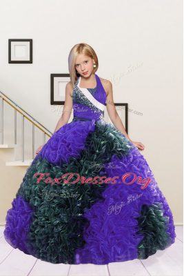 Halter Top Sleeveless Floor Length Beading and Ruffles Lace Up Teens Party Dress with Dark Green and Eggplant Purple