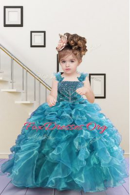 Decent Floor Length Turquoise Party Dresses Straps Sleeveless Lace Up