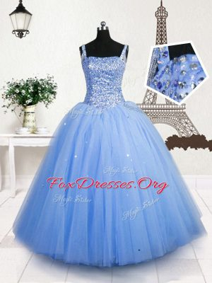 Lovely Baby Blue Ball Gowns Straps Sleeveless Tulle Floor Length Lace Up Beading and Sequins Teens Party Dress
