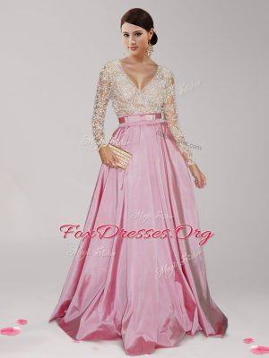 Lovely Pink And White Taffeta Zipper Mother Of The Bride Dress Long Sleeves Floor Length Beading and Belt