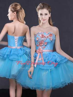Stunning Blue Lace Up Strapless Hand Made Flower Club Wear Tulle Sleeveless