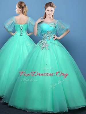 Cute Scoop Half Sleeves Organza Floor Length Lace Up Sweet 16 Quinceanera Dress in Turquoise with Appliques
