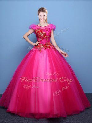 Hot Pink Scoop Neckline Appliques Quinceanera Gown Short Sleeves Lace Up