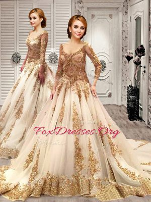 Glittering Sequins With Train A-line 3 4 Length Sleeve Champagne Bridal Gown Court Train Lace Up