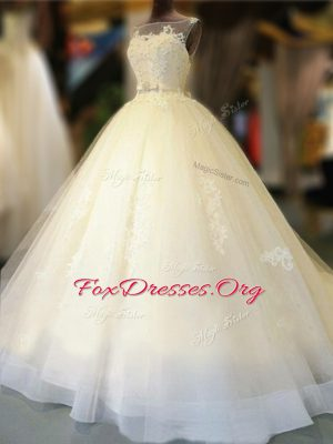 Custom Fit White Bateau Neckline Appliques and Bowknot Bridal Gown Sleeveless Backless