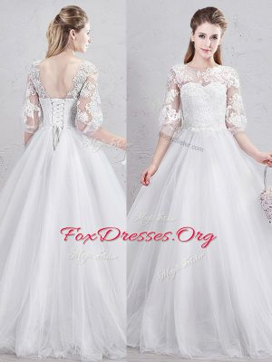 Scoop Floor Length White Wedding Gowns Tulle Half Sleeves Lace and Appliques