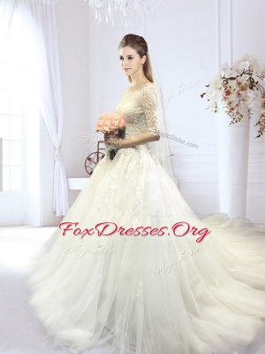 Enchanting White Off The Shoulder Neckline Lace and Appliques Bridal Gown Half Sleeves Lace Up