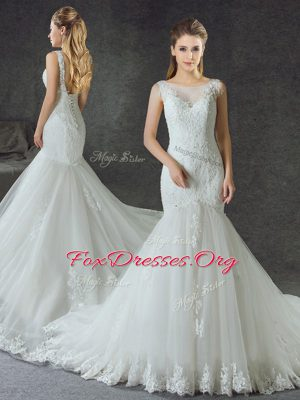 Exceptional Mermaid Scoop Sleeveless Wedding Dresses With Train Court Train Lace and Appliques White Tulle