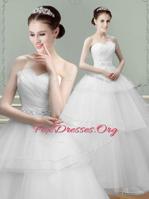 Classical White Wedding Dresses Wedding Party and For with Beading and Ruching Sweetheart Sleeveless Lace Up