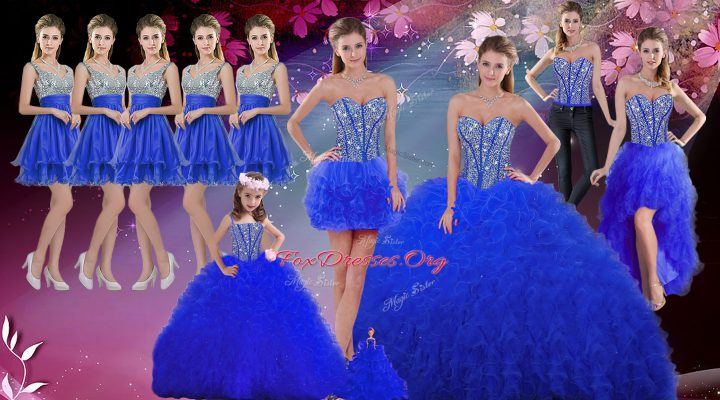 Customized Sleeveless Floor Length Beading and Ruffles Lace Up Ball Gown Prom Dress with Royal Blue