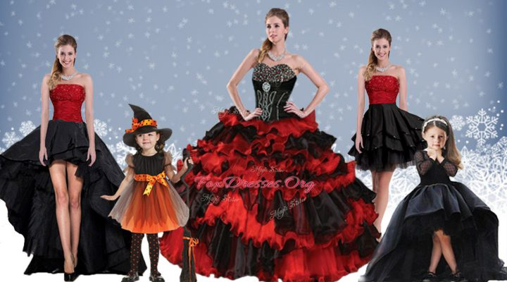 Artistic Satin and Organza Sweetheart Sleeveless Lace Up Beading and Ruffled Layers Quinceanera Gowns in Red And Black
