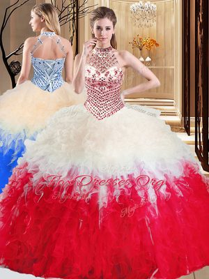 White And Red Ball Gowns Halter Top Sleeveless Tulle Floor Length Lace Up Beading and Ruffles Quinceanera Gown