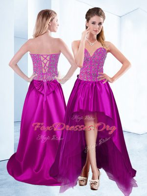 Low Price Fuchsia A-line Satin Sweetheart Sleeveless Beading High Low Lace Up Club Wear