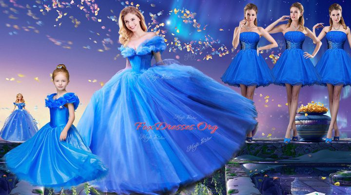 Floor Length Royal Blue 15 Quinceanera Dress Off The Shoulder Short Sleeves Lace Up