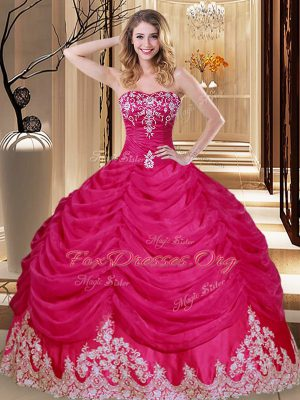 Sophisticated Tulle Sleeveless Floor Length 15th Birthday Dress and Appliques and Embroidery and Pick Ups