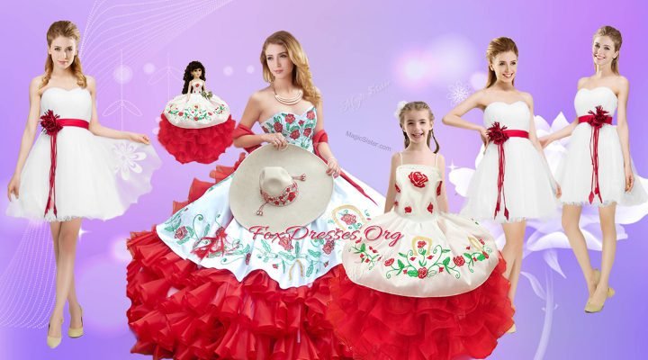 White And Red Ball Gowns Embroidery and Ruffles Quinceanera Dress Lace Up Organza Sleeveless Floor Length